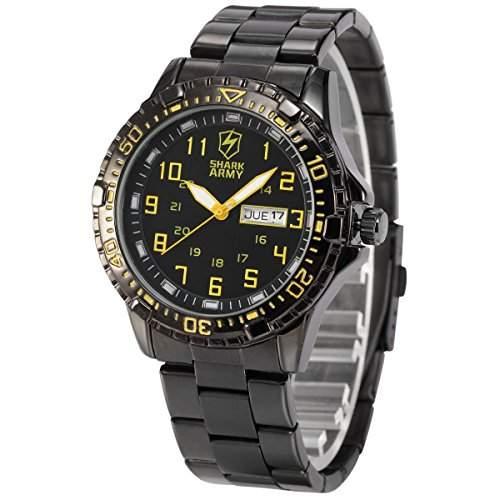 Shark Army Herren Armbanduhr Quarzuhr mit Armband aus Edelstahl Datumanzeige SAW092