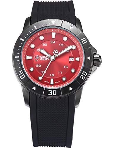 SHARK ARMY Herren Armbanduhr Analog Datum Anzeige Militaer Silikon Armband Quarzuhr SAW096