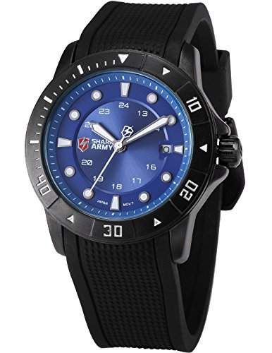 SHARK ARMY Herren Armbanduhr Analog Datum Anzeige Militaer Silikon Armband Quarzuhr SAW098