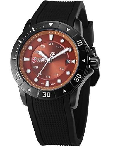 SHARK ARMY Herren Armbanduhr Analog Datum Anzeige Militaer Silikon Armband Quarzuhr SAW099