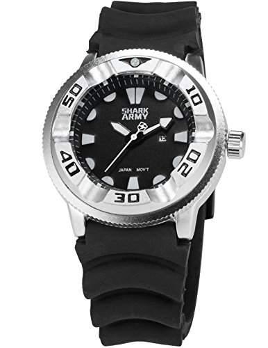 SHARK ARMY Herren Armbanduhr Analog Datum Anzeige Militaer schwarz Silikon Armband Quarzuhr SAW101