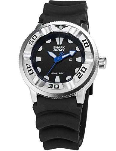SHARK ARMY Herren Armbanduhr Analog Datum Anzeige Militaer schwarz Silikon Armband Quarzuhr SAW102