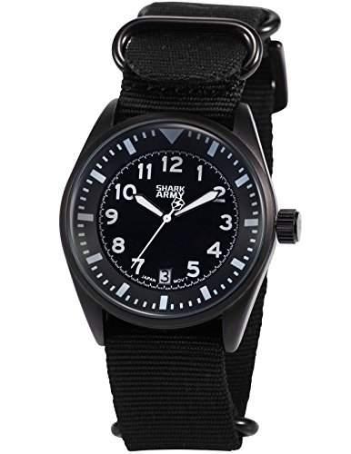 SHARK ARMY Herren Armbanduhr Analog Quarz Datum Anzeige Militaer Nylon Band SAW105