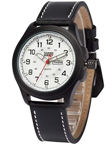 SHARK ARMY Herren Militaer Quarzuhr Analog Leder Armband Sport SAW121