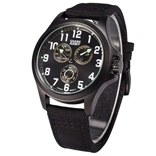 SHARK ARMY Herren Armbanduhr Quarz Schwarz Nylon Armband und Zifferblatt Sportuhr SWA129
