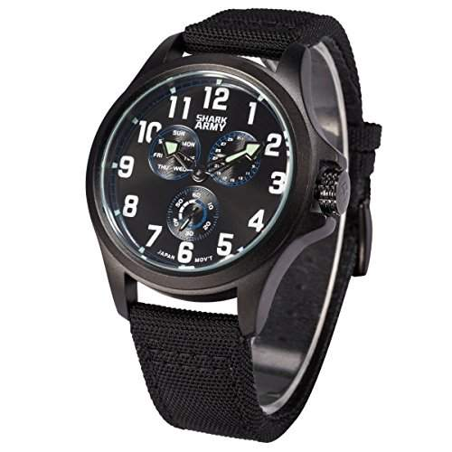 SHARK ARMY Herren Armbanduhr Quarz Schwarz Nylon Armband und Zifferblatt Sportuhr SWA130