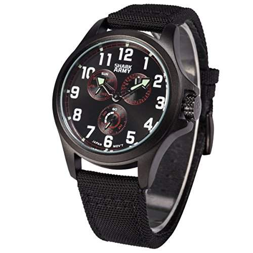 SHARK ARMY Herren Armbanduhr Quarz Schwarz Nylon Armband und Zifferblatt Sportuhr SWA131