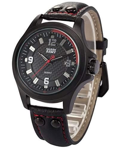 SHARK ARMY Herren Armbanduhr Quarzwerk Analog Datumanzeige Sportuhr SAW144