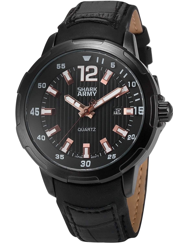 SHARK ARMY Herren Analog Quzrzuhr Datum Anzeige Schwarz Leder Band Militaer Armbanduhr SAW157