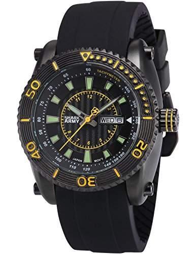 SHARK ARMY Herren Armbanduhr Analog Quarz Tag Datum Anzeige Schwarz Silikon Band SAW159