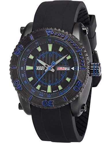 SHARK ARMY Herren Armbanduhr Analog Quarz Tag Datum Anzeige Schwarz Silikon Band SAW160