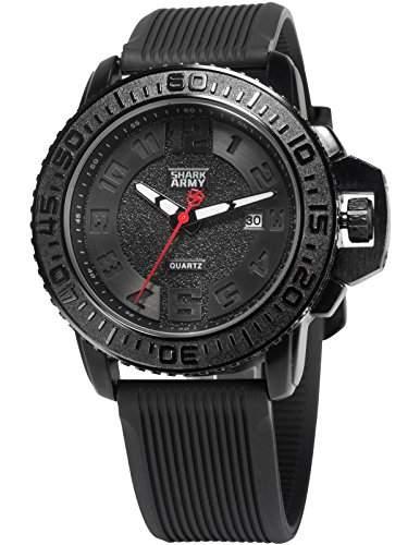 SHARK ARMY Herren Armbanduhr Analog Quarz Datum Anzeige Militaer Silikon Band SAW177