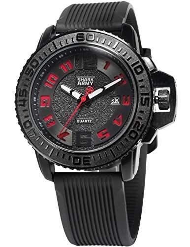 SHARK ARMY Herren Armbanduhr Analog Quarz Datum Anzeige Militaer Silikon Band SAW179