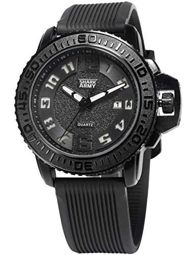 SHARK ARMY Herren Armbanduhr Analog Quarz Datum Anzeige Militär Silikon Band SAW180