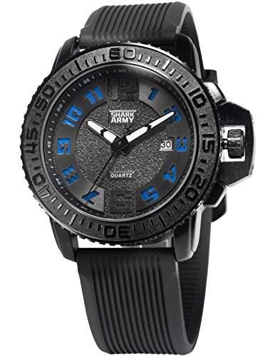 SHARK ARMY Herren Armbanduhr Analog Quarz Datum Anzeige Militaer Silikon Band SAW182