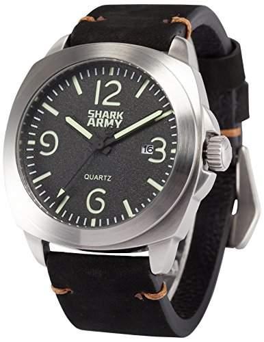 SHARK ARMY Herren Wasserdicht Schwimmen Armbanduhr Analog Quarz Datum Schwarz Leder Band SAW185