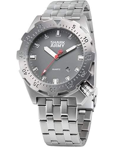SHARK ARMY Herren Armbanduhr Wasserdicht Analog Quarz Edelstahl Armband Datum Anzeige mit Eisen Box SAW187