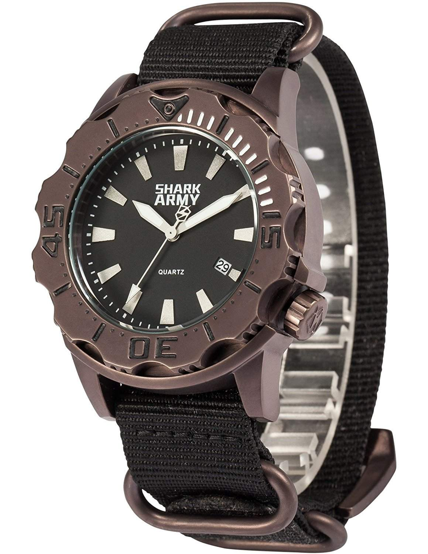 SHARK ARMY Herren Armbanduhr Wasserdicht Analog Japanisches Quarz Nylon Armband Datum Anzeige SAW191