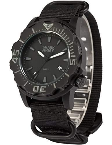 SHARK ARMY Herren Armbanduhr Wasserdicht Analog Japanisches Quarz Nylon Armband Datum Anzeige SAW193