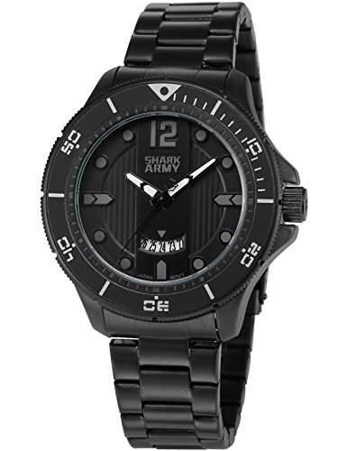 SHARK ARMY Herren Armbanduhr Analog Militaer Quarzuhr Datum Anzeige Schwarz Stahl Band SAW215