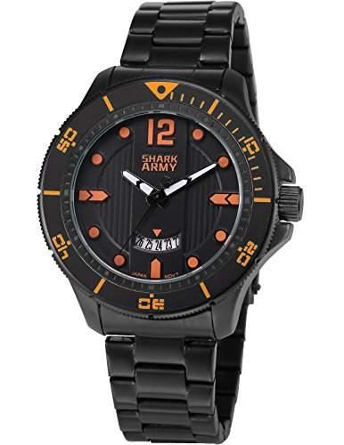 SHARK ARMY Herren Armbanduhr Analog Militaer Quarzuhr Datum Anzeige Schwarz Stahl Band SAW217