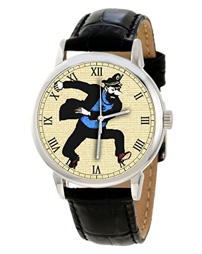 Captain Schellfisch blisterin Vintage Tim und Struppi Comic Art Collectible 40 mm Herren Armbanduhr