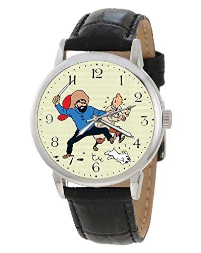 Avast Captain Schellfisch und Tim und Struppi seltene Vintage Comic Kunst Sammlerstueck Armbanduhr
