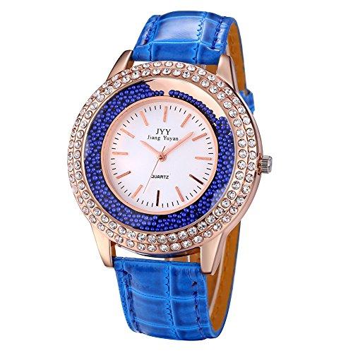 Damen Leder Crystal Diamond Strass Uhren Frauen Schoenheit Kleid Quarz Uhr Blau