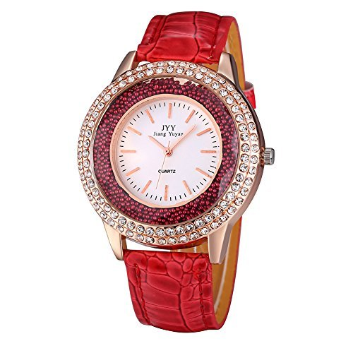 Damen Leder Crystal Diamond Strass Uhren Frauen Schoenheit Kleid Quarz Uhr Rot