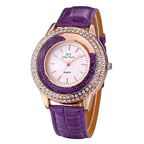 Damen Leder Crystal Diamond Strass Uhren Frauen Schoenheit Kleid Quarz Uhr