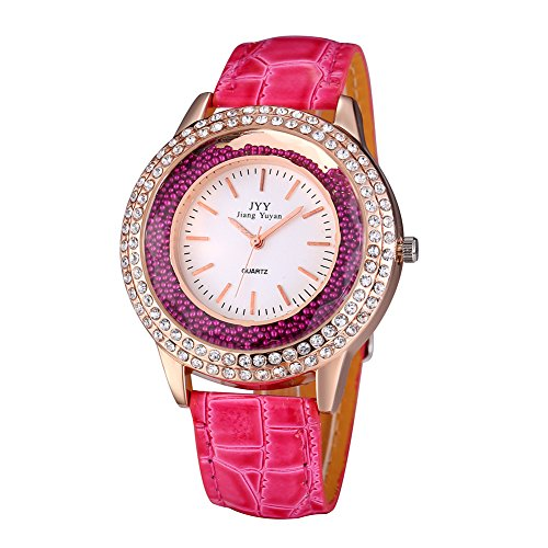 Damen Leder Crystal Diamond Strass Uhren Frauen Schoenheit Kleid Quarz Uhr Rose Red