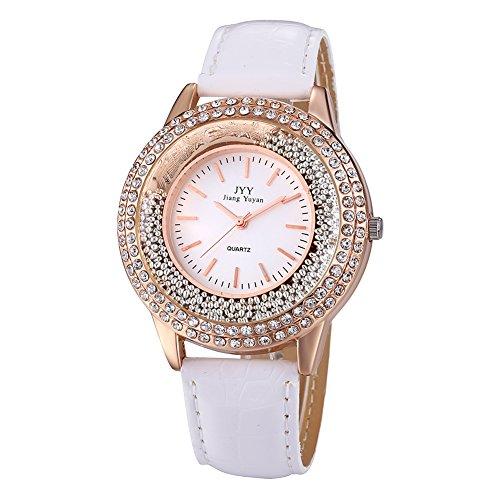Damen Leder Crystal Diamond Strass Uhren Frauen Schoenheit Kleid Quarz Uhr Weisse