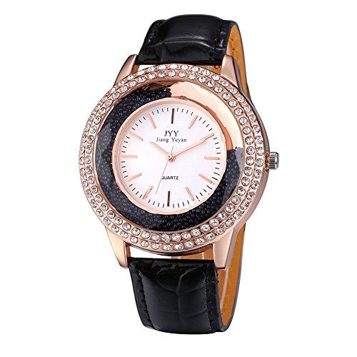 Damen Leder Crystal Diamond Strass Uhren Frauen Schoenheit Kleid Quarz Uhr Schwarz
