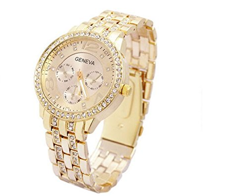 Damen Luxus Genf Edelstahl Rose Gold Bling Kristall Uhr