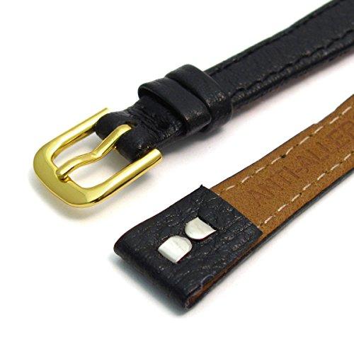 Damen offene Enden Leder Uhrenarmband Band fuer Vintage Uhren 12 mm breit schwarz G