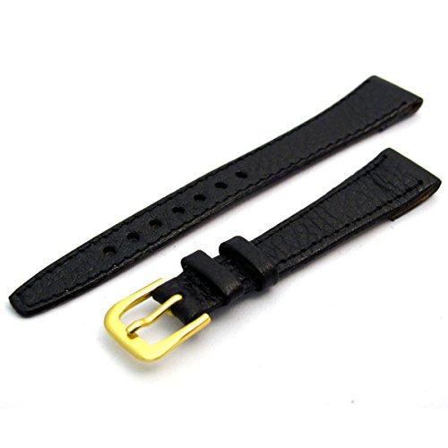 Damen offene Enden Leder Uhrenarmband Band fuer Vintage Uhren 14 mm breit schwarz G