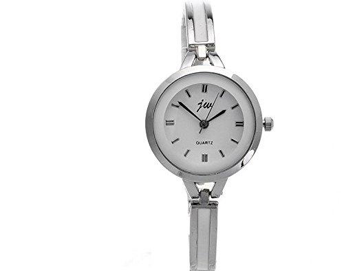 Damen Damen Silber runden Zifferblatt Quarz Art und Weise Kleid Armband Armbanduhr