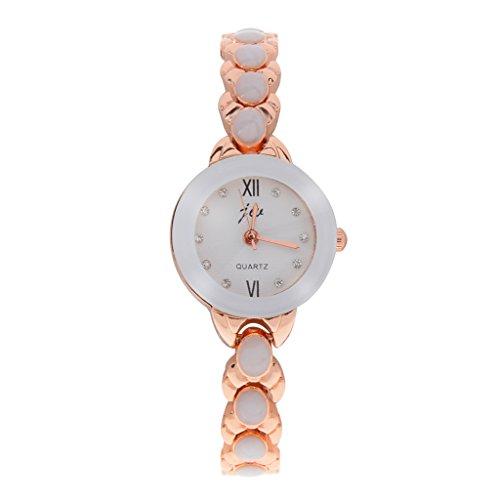 Frauen Edelstahl Zifferblatt Armbanduhr Quarz Uhr Wristwatch Armbaender Uhr