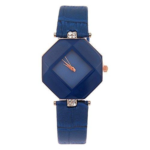 kezzi Damen Fashion Sechseck Fall Rhombus Zifferblatt mit Strass Deko Leder Armband blau