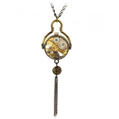 Fischaugenmuster Bronze Halskette Uhr Mechanische Automatische Taschenuhr