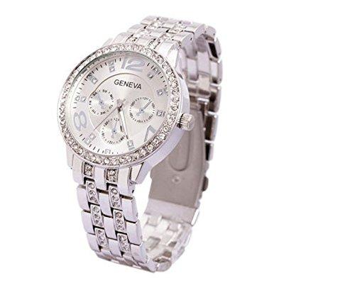 Frauen Damen Luxus Genf Edelstahl Silber Bling Kristall Uhr Silber