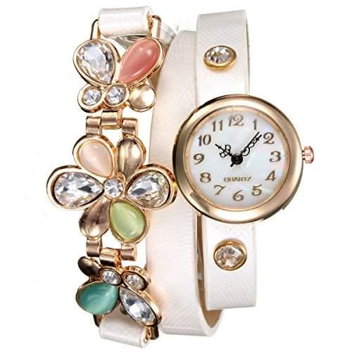 Damen Strass Armbanduhr Kristall Blumen PU Leder Armreif Metall Zifferblatt Quarzuhr Weiss