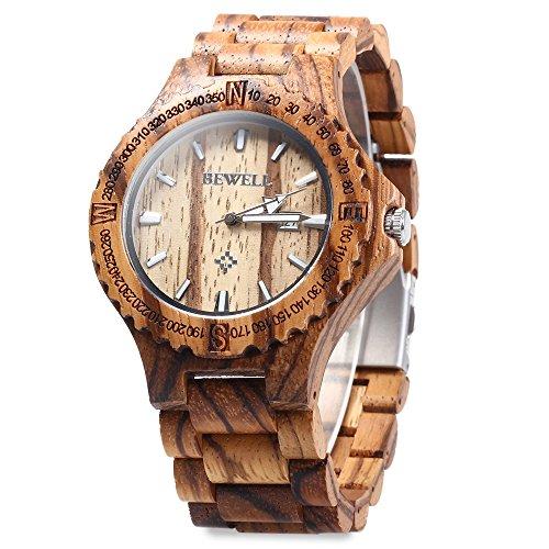 GBlife Bewell ZS W023A Maenner Holz Armbanduhr mit Kalender Anzeige Retro Stil Braun