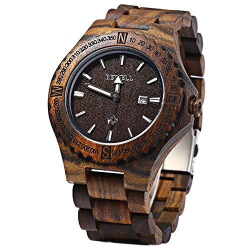 GBlife Bewell ZS W023A Maenner Holz Armbanduhr mit Kalender Anzeige Retro Stil Ebenholz