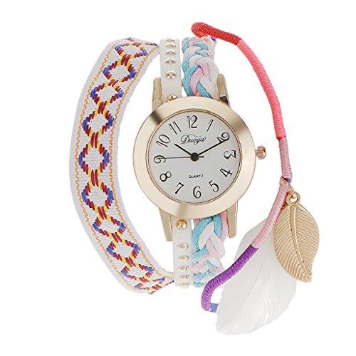 Generic Frauen Weiss Weben Feder Runde Armbanduhr Quarz Uhr Weihnachtsgeschenk