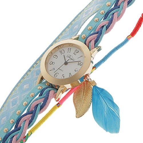Generic Frauen Weihnachtsgeschenk Blau Weben Feder Runde Armbanduhr Quarzuhr