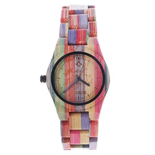 Generic Holzuhr Holz Armbanduhr Damenuhr Herrenuhr Bunt Zickzackfoermig Weihnachtsgeschenk