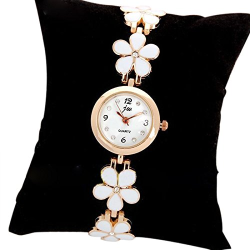 Generic Weiss Frauen Maedchen Chic Fashion Gaensebluemchen Blume Rose Golden Armband Handgelenk Uhren