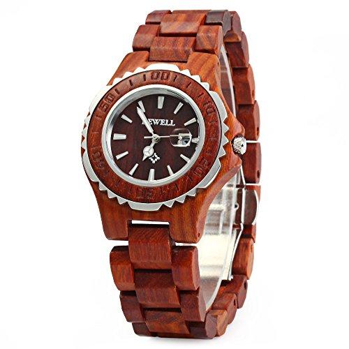Generic Holz Frauen Quarz Uhr mit Leuchtzeigern Metall Fall 30 m Wasser Widerstand rot Sandelholz