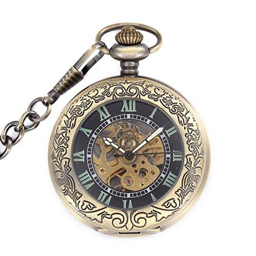 Maenner Antike Geschnitzt Retro Mechanische Automatische Halskette Kette Taschenuhr